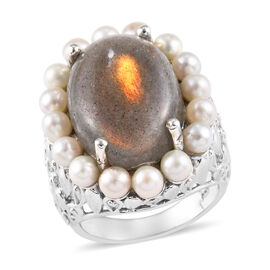 15.50 Ct Natural Bokonaky Fire Labradorite and Freshwater Pearl Halo Ring in Platinum Plated Silver