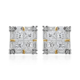 ILIANA 18K Yellow Gold IGI Certified Diamond (Sqr) (SI/G-H) Stud Earrings (with Screw Back) 1.000 Ct.