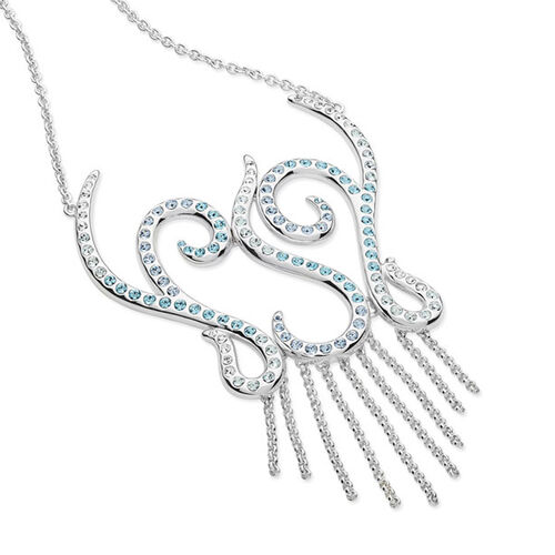 LucyQ Blue and White Crystal Element Necklace (Size 16 with 4 inch Extender) in Sterling Silver 18.00 Gms.