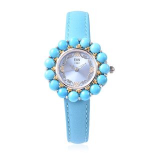 Arizona Sleeping Beauty Turquoise Dual Tone Watch with Turquoise Leather Strap in Sterling Silver