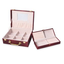 2 Piece Set - 2 Tier Removable Dragon Skin Pattern Jewellery Box with Inside Mirror and Handle - Win