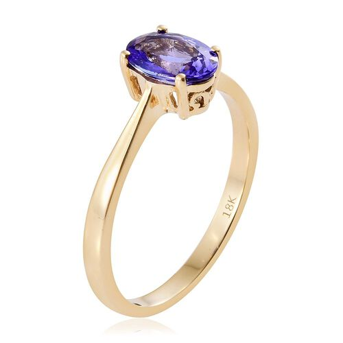 ILIANA 18K Y Gold AAA Tanzanite (Ovl) Solitaire Ring 1.500 Ct. Gold Wt 3.00 Gms