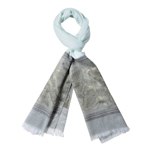New Season-Light and Dark Green Colour Floral Pattern Scarf (Size 180x70 Cm)