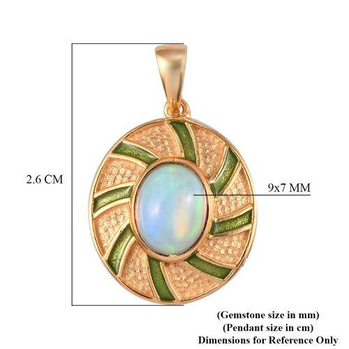Ethiopian Welo Opal Enamelled Pendant in 14K Gold Overlay Sterling Silver 1.05 Ct.