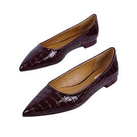Inyati - VIOLET Croc Slip-On Flat Ballerinas Chocolate Brown