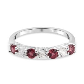 Rose Garnet and Natural Cambodian Zircon Ring in Sterling Silver 1.07 Ct