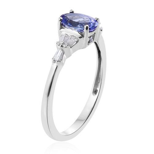 9K White Gold 1.15 Ct AA Tanzanite Ring with Diamond