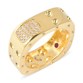 RACHEL GALLEY Majestic Collection Zircon and Burmese Ruby Square Band Ring in Gold Plated Silver