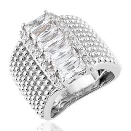 Simulated Diamond (Bgt and Rnd ) Ring in Platinum Plated