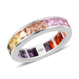 Elanza- Designer Inspired - Princess Cut Channel Set Simulated Rainbow Sapphire Ring in Sterling Sil