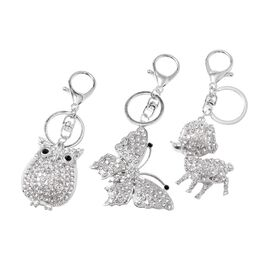 3 Piece Set- White and Black Austrian Crystal (Rnd) Owl, Butterfly and Dog Key Chain in Silver Plate