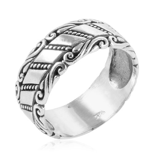 Royal Bali Collection Sterling Silver Filigree Band Ring, Silver wt 5.01 Gms.
