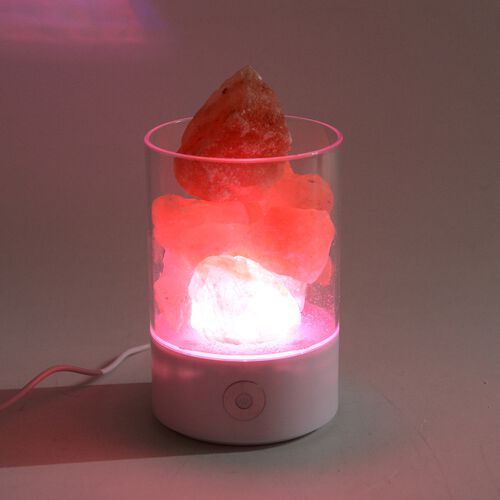 Himalyan Rock Salt Lamp with Inter Changeable LED Colour and USB Wire (Size 14x9.4x6.4 Cm) - White