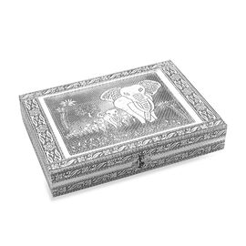 Elephant Family Embossed Ring Organizer Box with 9 Slots and Purple Velvet Lining (Size 27.94x20.3x5