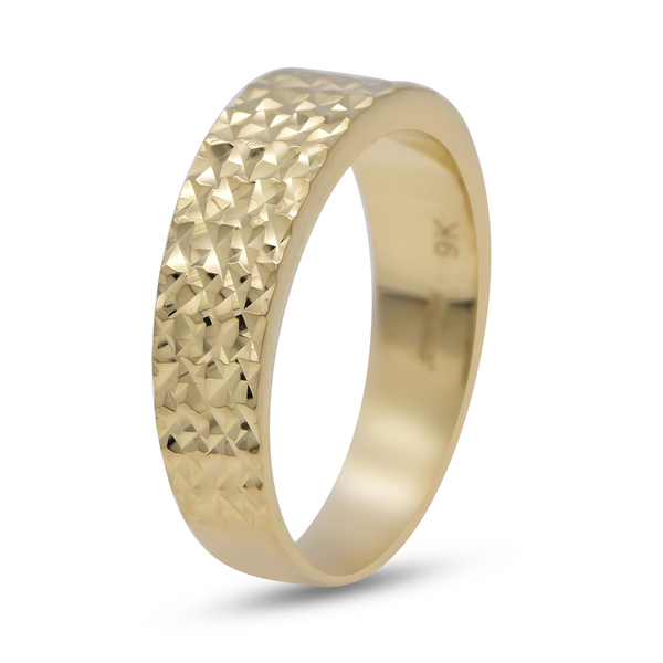 One Time Close Out Deal- 9K Yellow Gold Diamond Cut Band Ring Gold Wt 3.5 Grams