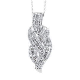 Diamond (Bgt) Pendant With Chain (Size 18) in Platinum Overlay Sterling Silver 1.000 Ct.