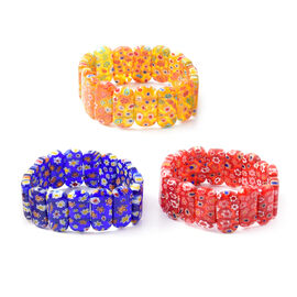 Set of 3 - Blue, Red and Champagne Colour Murano Style Glass Stretchable Bracelet (Size 7)