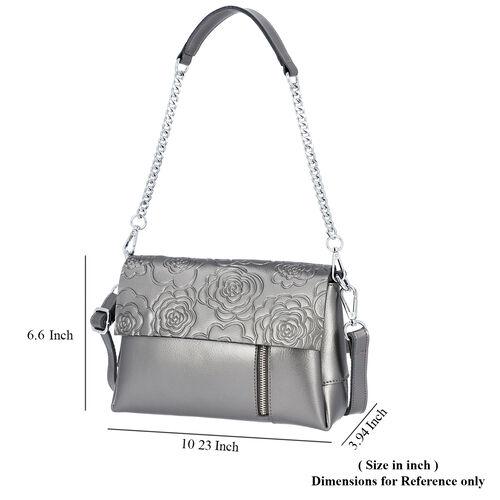 100% Genuine Leather Multiple Pocket Rose Pattern Flap Bag with Detachable Shoulder Strap (Size 25x9x18 Cm) - Grey