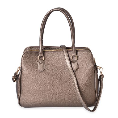 Bronze Colour Tote Bag with External Zipper Pocket and Removable Shoulder Strap (Size 36.5X26.5X19 Cm)