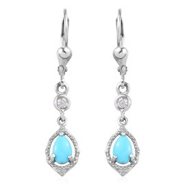 Arizona Sleeping Beauty Turquoise and Natural Cambodian Zircon Lever Back Earrings in Platinum Overl