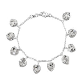 J Francis White Crystal from Swarovski Heart Charm Bracelet in Silver 7.5 with 0.5 inch Extender