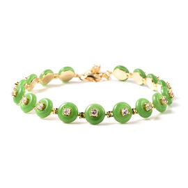 Green Jade and Natural Cambodian Zircon Bracelet (Size 7.5 with 1 inch Extender) in Yellow Gold Over
