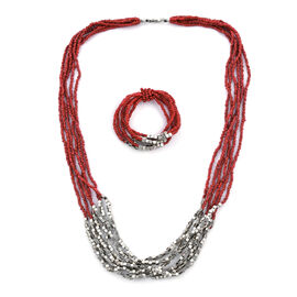 2 Piece Set - Coral and Silver Colour Beads Multi Strand Necklace (Size 15.5) and Stretchable Bracel