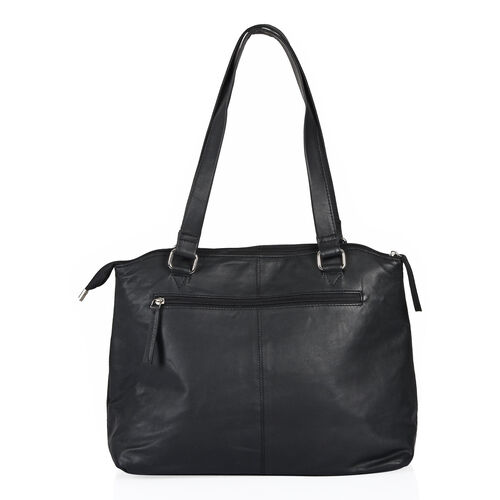 Top Grain Genuine Leather RFID Blocker Classic Black Colour Multi Pockets Big City Tote (Size 37X27X10 Cm)