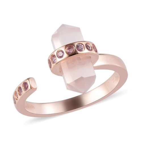 4.25 Ct Rose Quartz and Pink Sapphire Open Ring in Rose Gold Plated Sterling Silver