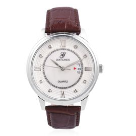 GENOA Japanese Movement Water Resistant White Crystal Studded MOP Dial Watch with Genuine Leather Br