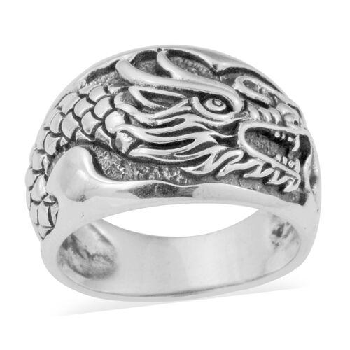 Filigree Dragon Ring in Thai Sterling Silver Ring 6.70 Grams