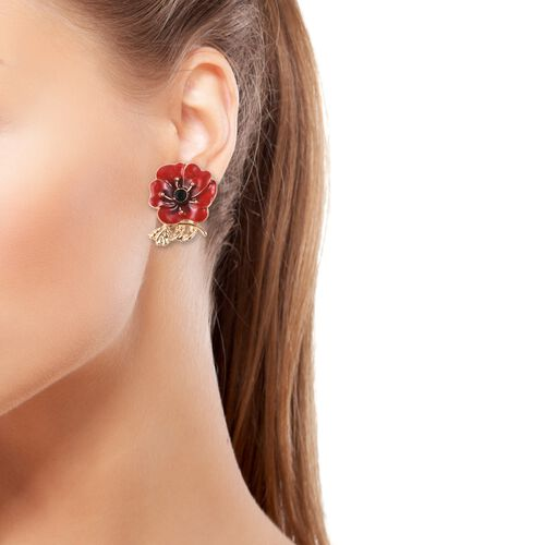 TJC Poppy Design Red and Black Enamelled Poppy Flower Gold Tone Earrings (with Push Back)