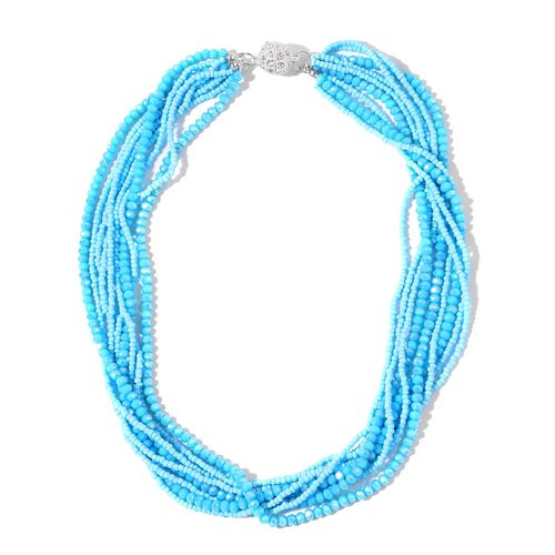 Designer Inspired- Set of 2 - Simulated Sleeping Beauty Turquoise and White Austrian Crystal Necklace (Size 17 and 19) in Silver Tone