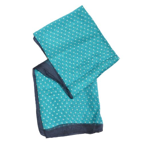 100% Mulberry Silk Blue, White and Navy Colour Handscreen Polka Dots Printed Scarf (Size 175X100 Cm)