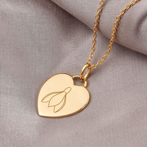 Personalise Engraved Name and Birthflower Heart Pendant with Chain in Silver