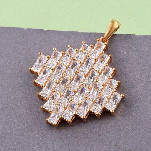 J Francis - 14K Gold Overlay Sterling Silver (Bgt) Cluster Pendant Made with SWAROVSKI ZIRCONIA