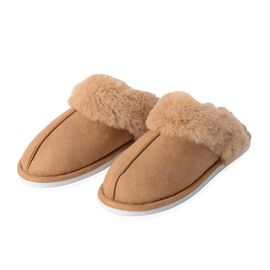Super Soft Suede Faux Fur Slippers (Size M- 5-6) - Brown