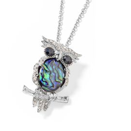 Abalone Shell (Ovl 21x17 mm), White and Black Austrian Crystal Owl Brooch Come Pendant in Silver Tone