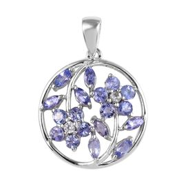 Tanzanite and White Zircon Floral Pendant in Platinum Plated Sterling Silver 1.75 Ct