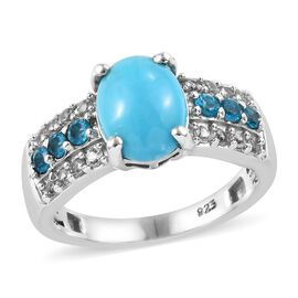 Arizona Sleeping Beauty Turquoise (Ovl), Natural Cambodian Zircon and Malgache Neon Apatite Ring in