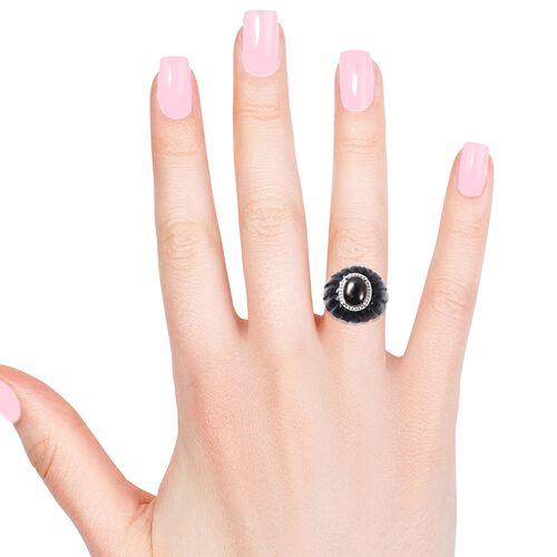 Elite Shungite (Ovl), Black Jade Ring in Rhodium Overlay Sterling Silver 35.00 Ct.