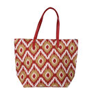 Red and Olive Green Aztec Print Design Shopper Style Bag