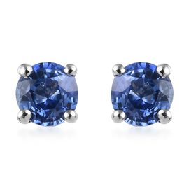 RHAPSODY 950 Platinum Royal Ceylon Sapphire (Rnd) Stud Earrings 1.05 Ct.