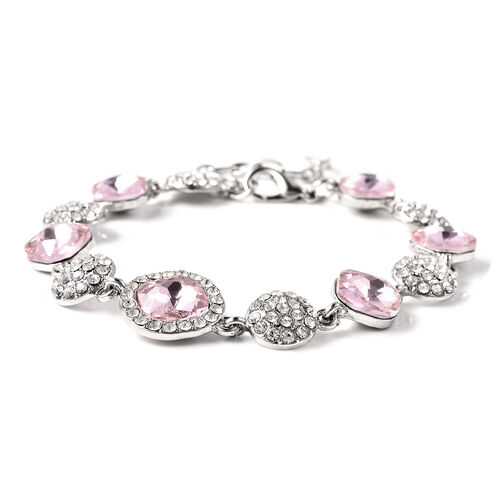 Simulated Kunzite and White Austrian Crystal Station Bracelet (Size 8 with Extender) in Silver Tone