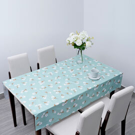 100% Waterproof PVC Table Cloth with Floral Pattern (Size 140x137cm) - Green & White