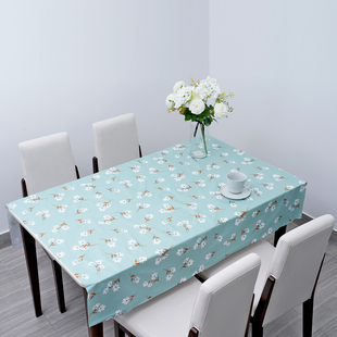 100% Waterproof PVC Table Cloth with Floral Pattern (Size 140x137cm) - Pastel Green & White