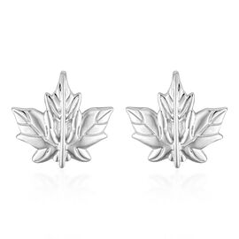 Platinum Overlay Sterling Silver Maple Leaf Cufflinks