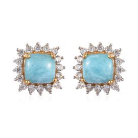 3 Carat Larimar and Zircon Stud Halo Earrings in Gold Plated Sterling Silver