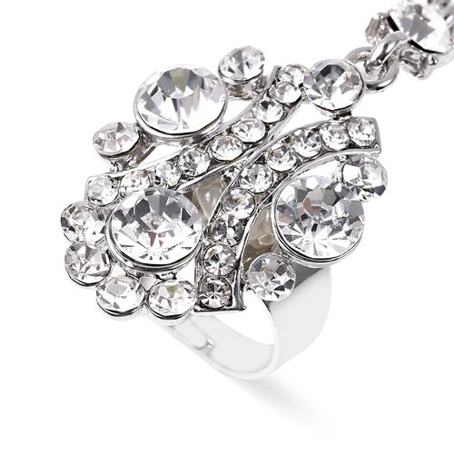 White Austrian Crystal (Rnd) Bracelet/Ring (Size 6.50 with 3 Inch Extender) in Silver Tone