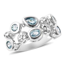 RACHEL GALLEY Misto Collection - AA Ratnakiri Blue Zircon Ring in Rhodium Overlay Sterling Silver 3.